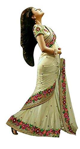 Bollywood Craze Cream Color Chiffon & Banglori silk Fabric Embroidery Work Saree...