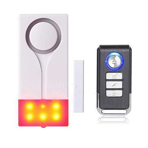 Mengshen Tür- Und Fensteralarm - Funkalarm Mit 105 db Lautem Ton Und Hellem Licht, (1 Alarm Und 1 Fernbedienung)