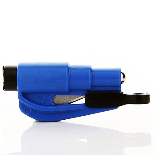 Happy Fd 2 in 1 im Freien Auto Flucht Notüberlebens Sicherheits-Hammer Schlüsselanhänger Werkzeug Gurtschneider Auto Fenster Unterbrecher mit 2 Packung (Blau)