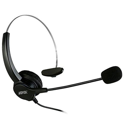 Agptek cuffie da 2,5 mm per telefoni fissi, 6 piedi Hands-Free Noise Cancelling monofonico cuffia cuffia con il Mic, microfono, Comfort Fit fascia per Panasonic telefoni fissi, La maggior parte dei telefoni cordless