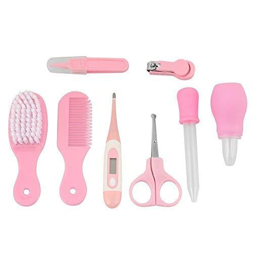 Zerodis Babypflege Set/8Pcs Baby Nagelknipser Schere Haarbürste Kamm Nasenpinzette Maniküre Care Kit(Rosa)