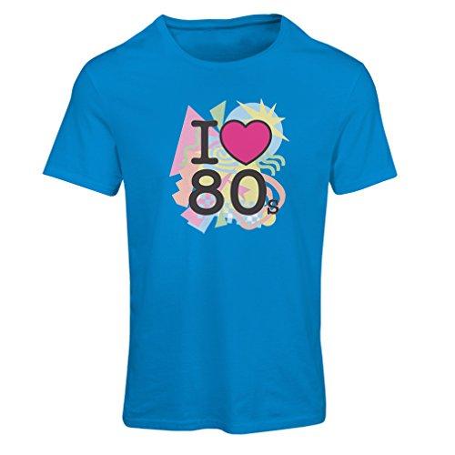 Frauen T-Shirt Ich liebe 80er Konzert t-shirts Weinlese Kleidungs Musik t-shirts geschenke (Medium Blau Mehrfarben)