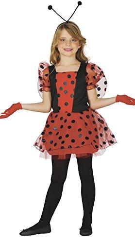 Marienkäfer Kostüm für Kinder Karneval Fasching Tier Rot Punkte Gr. 110 - 146, ()