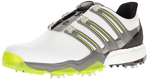 Adidas Herren pwrband Boa Boost Ftwwht Golf Schuh, Herren, White/Iron Metallic/Solar Slime
