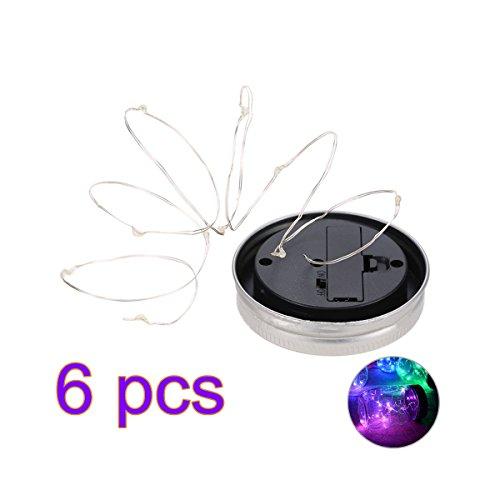 Ledmomo Lampes solaires de couvercles de bocaux Mason 2 m 20 Micro LED Starry Guirlande lumineuse ajustement régulier Bouche bocaux pour décor de jardin de terrasse solaire Laterns 6-pack (Violet clair)