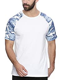 Deezeno New Trendy Round Neck White Raglan T-Shirt With Camo Print For Men & Boys Available In All Premium Sizes