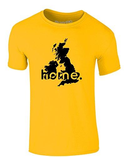 Brand88 - Home: UK, Erwachsene Gedrucktes T-Shirt Gänseblümchen-Gelb/Schwarz