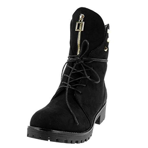 Clouté Talon 4 Angkorly Chaussure Zip Bloc Mode Doré Femme Rangers Bottine Fermeture CM Noir 5 wa1XzPqar