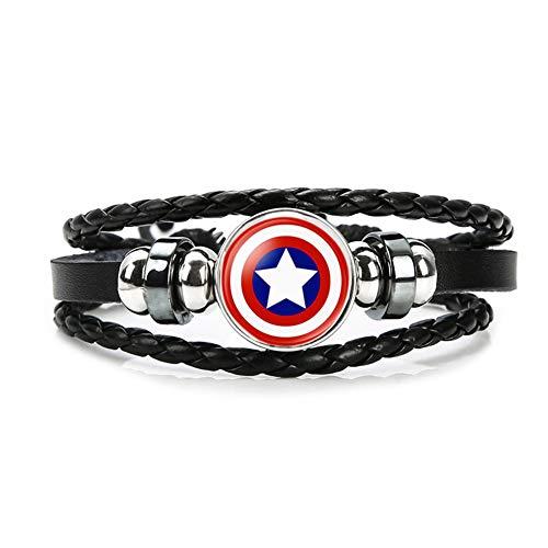 Uiipx Avengers Armband Mehrschichtiges Lederarmband Iron Man Captain America Schwarzer Panther Hulk Raytheon Schwarze Witwe Gewebtes Armband,I (Captain Armbänder)