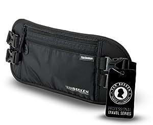 Bauchtasche Hüfttasche mit RFID-Blockierung und 2 Hüftgurten – extra flach, enganliegend und wasserabweisend – Geldgürtel zum Reisen, Joggen und Wandern | VAN BEEKEN – schwarz