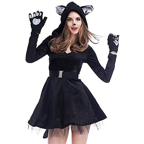 QWE Halloween Kostüm Cosplay sexy Schwarze Katze Rock Panda Tier Spiel Kostüm Erwachsenen Leistung Kostüm (Einfach Schwarzer Teufel Kostüm)