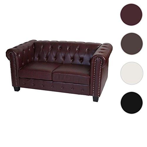Luxus 2er Sofa Loungesofa Couch Chesterfield Kunstleder ~ eckige Füße, rot-braun