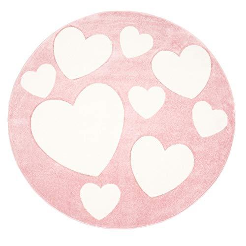 Kinder-Zimmer-Teppich mit Herz Sterne Wolken Anker Designs | rund oder rechteckig | Ideal für Jungen, Mädchen oder im Baby-Zimmer | Ökotex Zertifiziert (Herzen Rosa, 120 cm rund) -
