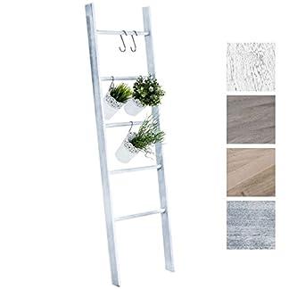 41ufvQniUJL. SS324  - CLP Escalera de Decoración Mariette I Escalera Decorativa de Madera con 5 Peldaños I Toallero en Estilo Rústico I Color: