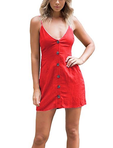 Damen Kleider-V-Ausschnitt Einstellbare Spaghetti Strap Button Down Tie A Line Casual Mini Sommerkleid A-line Spaghetti