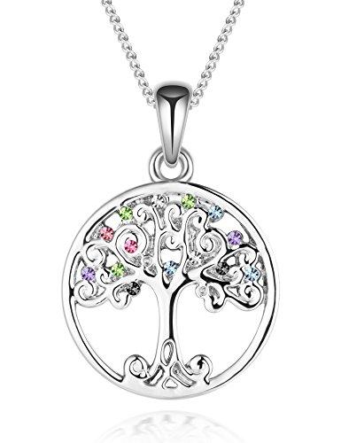 murtoo collana albero di amore in placcato Rodio e ossido di zirconio per donna nove ideale regalo di San Valentino colore-oro