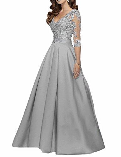 V-Ausschnitt Lange Ärmel Abendkleider Lange Spitze Perlen Abendkleid Ballkleider für Hochzeit 2018