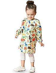 Niño ropa de protección impermeable ropa de pintura Moda dibujos animados niños jugar ropa de arena Ropa de niños para niños y niñas (azul / rosa / amarillo) ( Color : Amarillo , Tamaño : L )