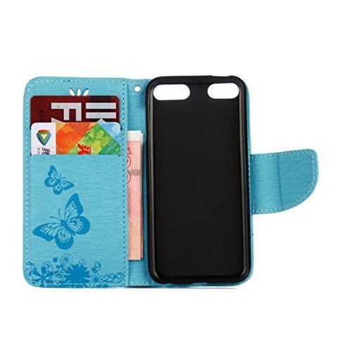 Custodia iPod touch 5, ISAKEN Cover iPod touch 6, Elegante borsa Tinta Unita Albero Design in Sintetica Ecopelle PU Pelle Flip Cover Protettiva Portafoglio Case Caso con Supporto di Stand / Carte Slot Farfalla: blu