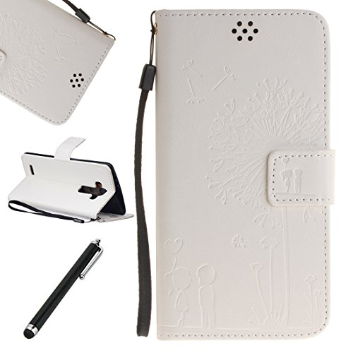 Preisvergleich Produktbild Beddouuk Leder Tasche für LG G4,LG G4 Handyhülle,LG G4 Handytasche,Ultra Dünn Retro Muster Design PU Leder Flip Cover Wallet Brieftasche Innenseite Silikon Bumper Schutzhülle im Bookstyle mit Standfunktion Karteneinschub und Magnetverschluß Full Body Protection Backcover Case Cover Handy Tasche Etui für LG G4-Löwenzahn,Weiß