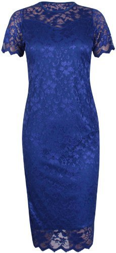 Womens Short Sleeves Ladies Round Scoop Neckline Stretch Lined Floral Lace Scallop Edge Bodycon Midi Dress Plus Size Royal Blue 18