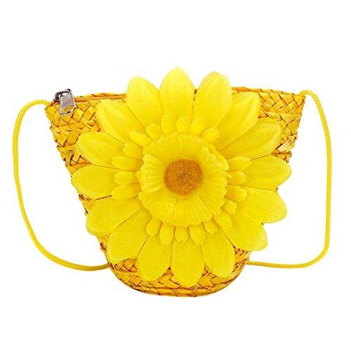 SPWERINGES Kleine Woven Rattan Tasche Blumen Stroh Tasche Frauen Geldbörse Mini Sommer Strand Umhängetaschen Für Mädchen Kinder Brieftaschen Yellow