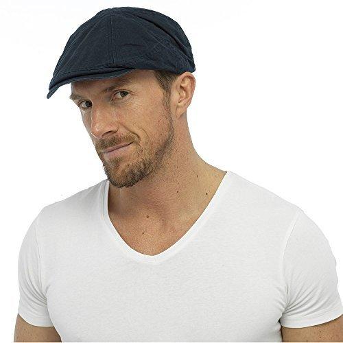mens-adult-quality-adjustable-strap-flat-cap-fashion-hat-100-cotton-navy-l-xl