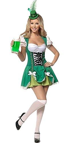 Harrowandsmith Frauen Damen weibliche Grün und Weiß Oktoberfest Kostüm Lederhosen Oktoberfest Bayerische Bierparty deutschen traditionellen Outfit Karnevalskostüme Abendkleid -Halloween DSLB2216 (EU 40 - (Oktoberfest Weiblich Kostüme Deutsche)
