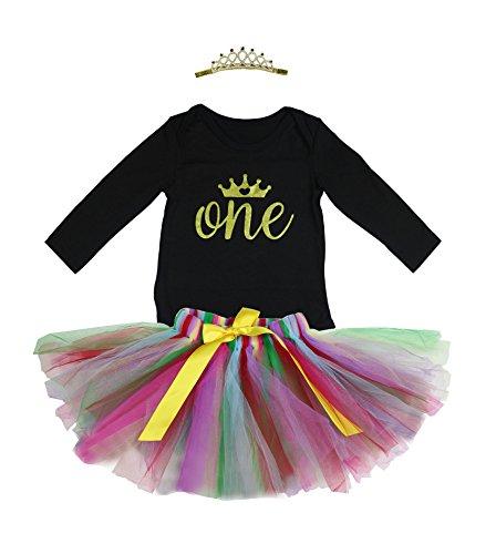 BabyPreg 3PCs Baby-1. Geburtstags-Ballettröckchen-Kleid Onesie Rock-Stirnband-Ausrüstung (L / 9-12 Monate, Schwarz 2)