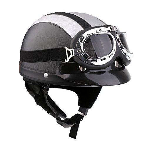 Sharplace Motorrad Herren Jet Helm Fahrradhelm mit Visier UV-Schutzbrillen Retro Vintage-Stil - Schwarzes Silber