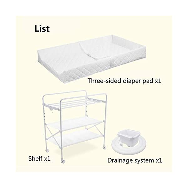 White Newborn Changing Table On Wheels, Baby Bathing Massage Baby Cot Foldable Changing Diapers Dresser with Pad GUYUE Two in one design- Baby changing table can be used as baby massaging table as well or dry your baby's small clothes, also can bathing. Iron tube paint + high quality plastic + polyester 3D mesh. Smooth mute caster. 9