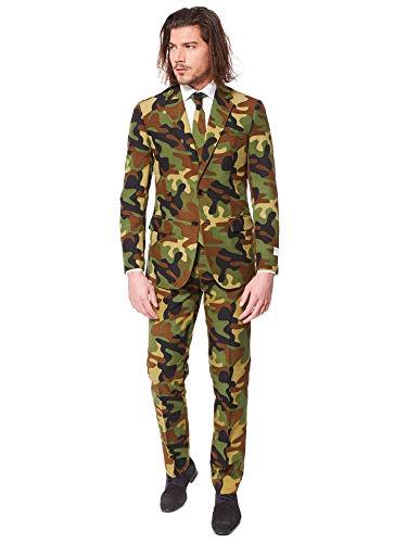 Kostüm Kugelsichere Weste - OppoSuits Abschlussball kostüme für Herren - Mit Jackett, Hose und Krawatte mit Festlichen Print, Commando, 54
