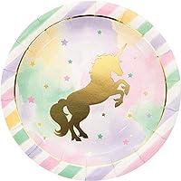 Creative Convertting Unicorn Sparkle Metallic 23 cm Plate, Multi-Colour, 8C329409