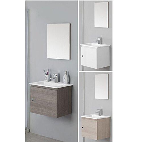 Mobile arredo bagno silver cm 50 sospeso moderno con un anta e lavabo in ceramica mobili