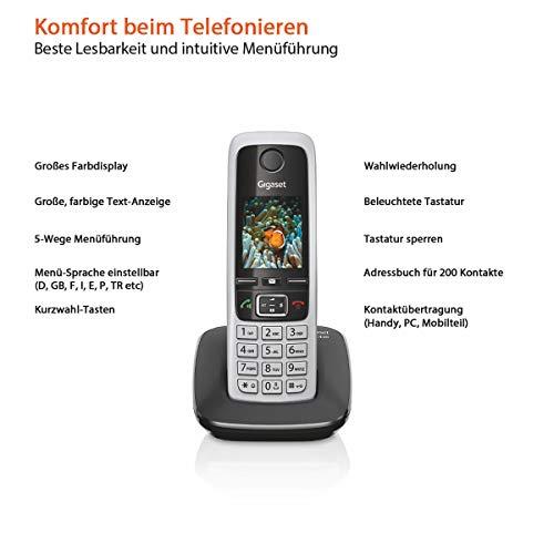 Gigaset C430HX Telefon – Schnurlostelefon / Mobilteil – mit TFT-Farbdisplay – für DECT / CATiq Router – Freisprechfunktion – IP Telefon – Schwarz - 4