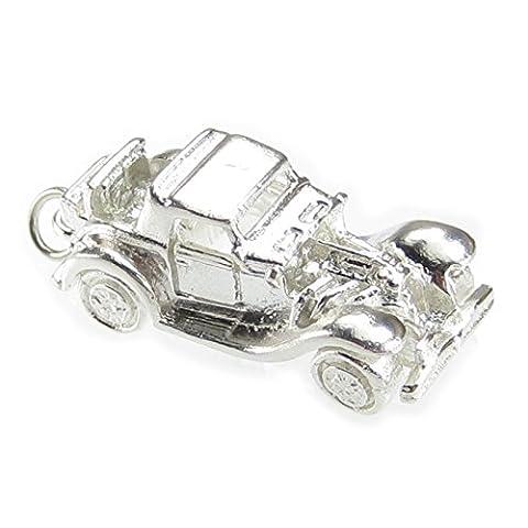 Roadster Sterling Silber Schwere Schlüsselanhänger Anhänger Charme 925Schlüsselanhänger Schlüsselschilder X 1Schild Schlüsselkasten Cars ec1691