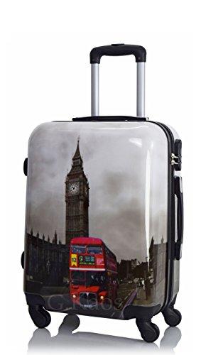 Valigia trolley da cabina 50 cm - rigida 4 ruote in abs policarbonato stampato a fantasia compatibile voli lowcost come easyjet rayanair fantasia - big ben tower (50 cm)