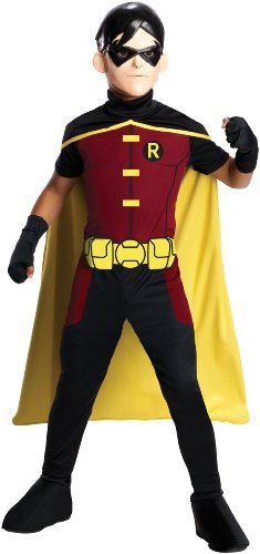 Rubies Kost-me 211389 Young Justice - Robin Child Kost-m - Rot-Gelb - Kleine (Red Robin Kostüm)