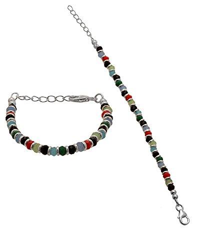 Silver Nazriya - 925 Silver Black Beaded Nazriya Bracelet Set For Baby...