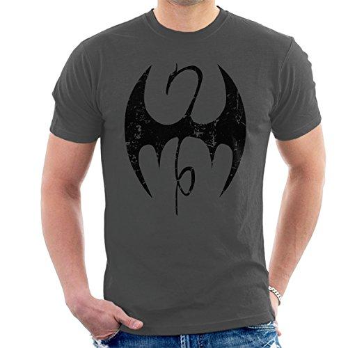 Iron Fist Symbol Black Distressed Men's T-Shirt