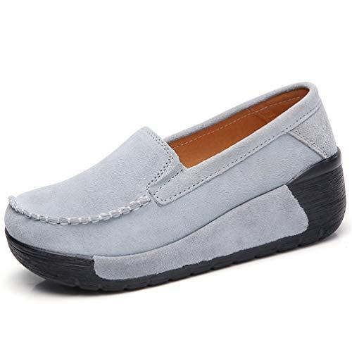 JRenok Frauen Schuhe Flache Mokassins Sneaker Loafers Kuh Wildleder Frühling Herbst Weibliche Damen Plattform Wedges Schuhe