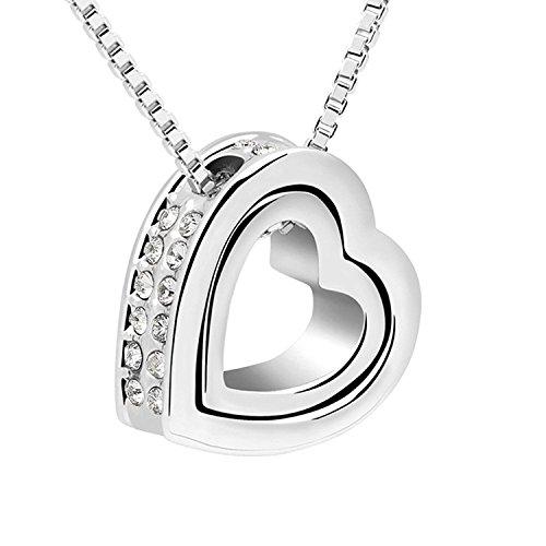 Cristalli swarovski - doppio - a forma di cuore collana con 45 cm collana placcati oro bianco e orecchini, lega, colore: klar halskette, cod. 21226