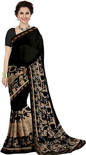 Kanchan Women's Soft Georgette Printed Saree (KTMALLIKA BLACK_Multi Coloured)