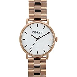 Frank London Women's Rose Gold Stainless Steel Band Mother of Pearl Dial Wrist Watch Ladies Designer Fashion Business Casual Dress Bracelet Analogue Quartz Wristwatch