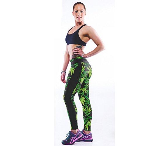 Belsen - Legging - Femme multicolore citrouille M Green leaves