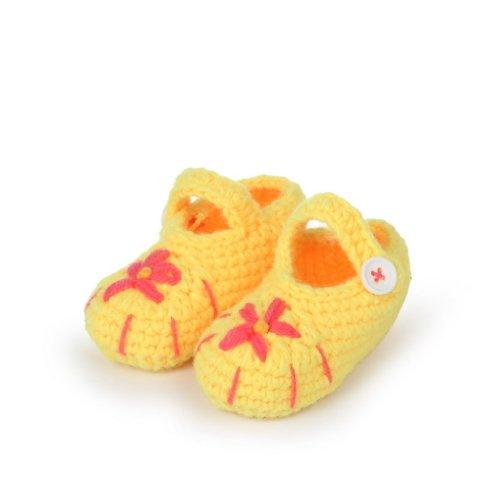 Smile YKK Baby Krabbelschuhe Gestrickte Schuhe flauschige Länge 11 cm Panda Blau Seestern Gelb G