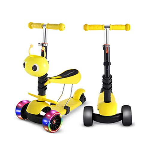DREI-in-einem-Roller Dreirad blinkend anhebbar Klapproller Kinderwanderer, Dreirad-Skateboard, Motorroller, Fahrrad-Yellow