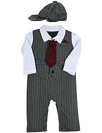 FEESHOW Bebé Niño ropa 3pcs Traje: sombrero + caballero Romper+Tie
