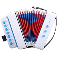CAHAYA Mini Accordéon, 7-Touches 2 Basse, Instrument éducation Musicale Rhythm Band Jouets (Blanc)