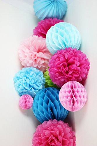 eko Kombination Pink Rosa Blau Wabenbälle PomPoms (Pink Christmas Ornamente)